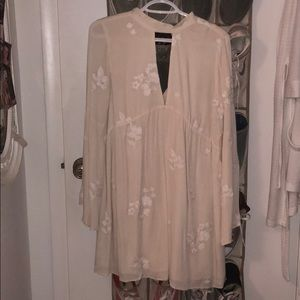 cream flowy keyhole dress